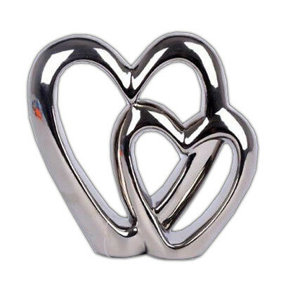 Double Heart Chrome Ornament Free Standing Valentine Love Wedding Gift Decor