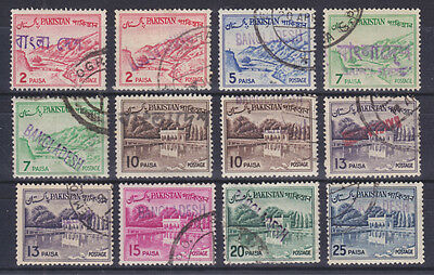 Bangladesh, Pakistan Sc 130/136 used 1961-70 Definitives w/ Local Ovpts, 12 diff
