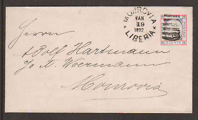 Liberia H&G B2 used 1891 3c Pres. Johnson Envelope  2;0