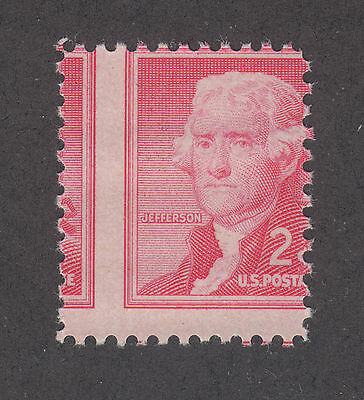 US Sc 1033 MNH. 1954 2c Jefferson, vertical MISPERF, VF ERROR