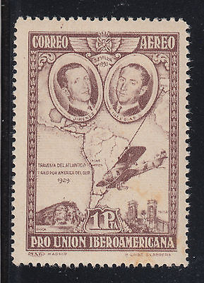 Spain Sc C55a MNH. 1930 1p brown violet Air Post, light stain