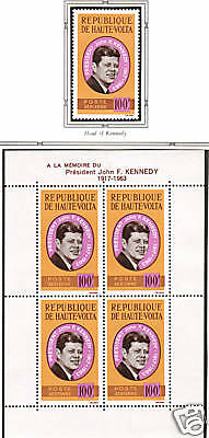 Burkina Faso Sc C19/19a MNH. 1964 JFK single + S/S  4;9