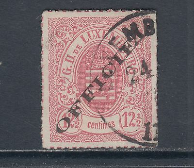 Luxembourg Sc O4 used 1875 12½c rose Coat of Arms w/ Official ovpt VF