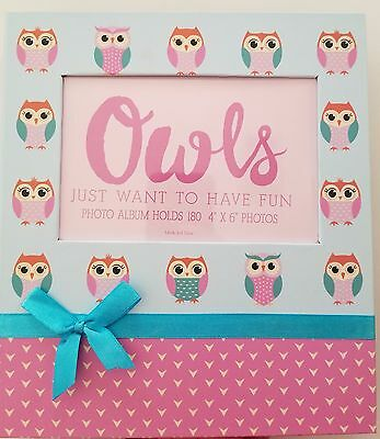 "Photo Album 4"" x 6"" Holds 180 Photos Owls Pink Blue Bow Cover Photo Insert"