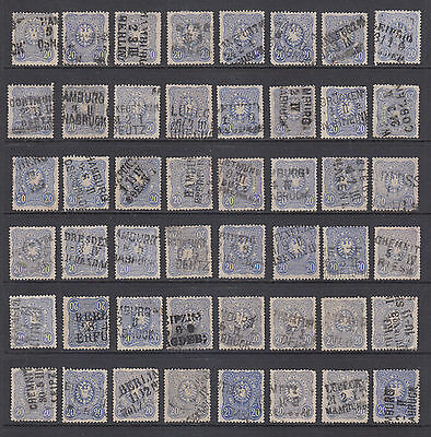 Germany, Sc 32, 40, used. 1875-80 20pf ultra, 48 examples with Railway cancels