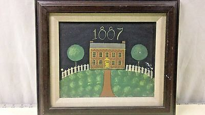 Ethan Allen Wood Framed Art Work Painting House Fence 1887 on Canvas vtg