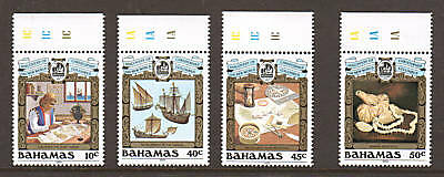 Bahamas Sc 663-666 MNH. 1989 Discovery of America, matched Sheet Margin set