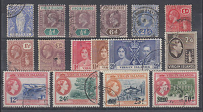 Virgin Islands Sc 23/137 used 1899-1962 issues, 16 different F-VF