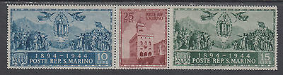 San Marino Sc 239a-239c MNH. 1945 Government Palace, Strip of 3 from Souv Sheet