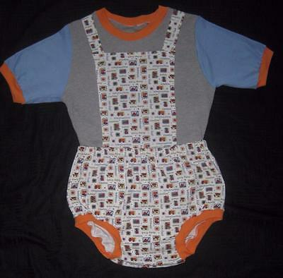 """Adult Baby 42"""" CONSTRUCTION Diaper Shirt & 50"""" DIAPER COVER, by LL"""