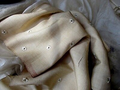 Antique Victorian Raw Pure Silk Lush Tiny Embroidered Flower Fabric Frag Oatmeal