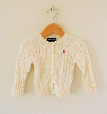 Polo Ralph Lauren Ivory Knit Classic Sweater Girls Size 18 Months