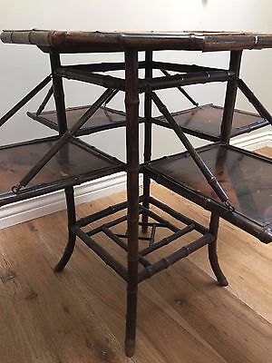 "Rare Antique English Bamboo Side Table 1890's England     22"" w x 29""h"