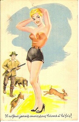 Cp Humour -  Pin Up A La Chasse !!!