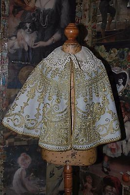 Unbelievably Lovely Victorian Antique Gold Metal Embroidered Wool Walking Cape