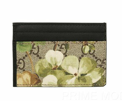 New Gucci Blooms Credit Card Holder Case W/clear Id Window Wallet