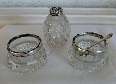 2 silver rimmed Salt Cellars with silver spoon 1907,  silver topped Pepper pot