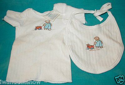 NEW BORN ORGANIC NATURAL BABY tee shirt with & bib