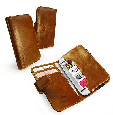 Tuff-Luv Vintage Genuine leather wallet case for Iphone 6 / Samsung S4 S5 S6 Brn