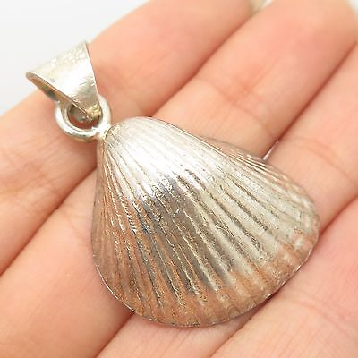 Vintage Mexico 925 Sterling Silver Large Seashell Pendant