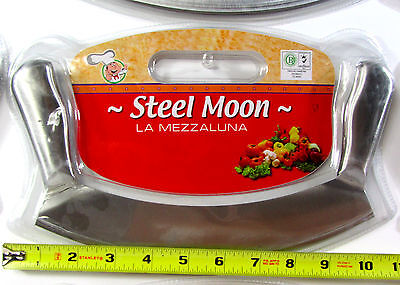 "STEEL MOON La Mezzaluna CUTTER 10"" Long Half Moon Pizza Rocker Knife ITALY NEW"
