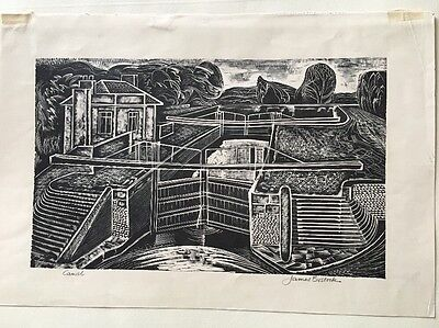 CANAL-FINE ORIG WOOD ENGRAVING BY JAMES BOSTOCK - 1950's? EDITION 25