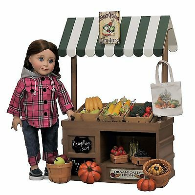 """49 PC 18"""" Doll Farm Stand +Fruits,Veggies,Crates,Clothes,Shoes For American Girl"""