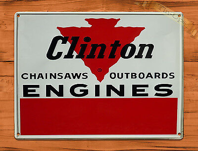 "TIN SIGN ""Clinton Chain Saws And Engines"" Garage Tool Rustic Wall Decor"