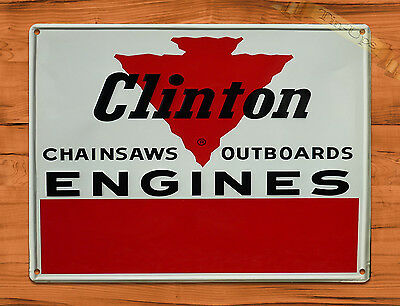 "TIN-UPS TIN SIGN ""Clinton Chain Saws And Engines"" Garage Tool Rustic Wall Decor"