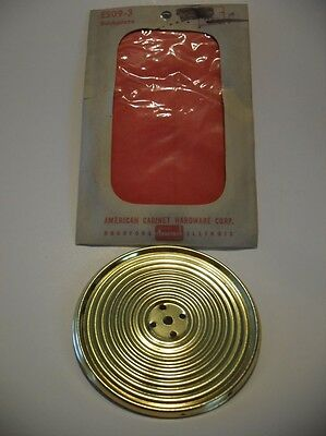 "Vintage NOS BRASS Round Knob BACKPLATE 3-1/4"" Dia Ribbed Face Bevel Edge Amerock"