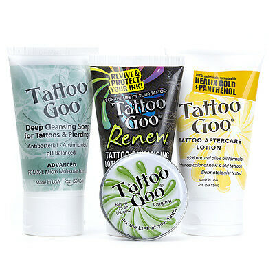 Tattoo Goo Aftercare Complete Kit with Salve Lotion Soap Renew Enhancer SPF30