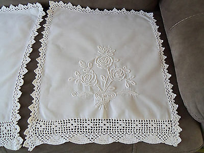 4 Stunning Vintage White Linen Chairbacks With White-On-White Pattern