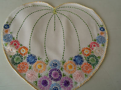 Gorgeous Vintage Hand-Embroidered Linen Teapot Cosy Cover-Heart-Shaped