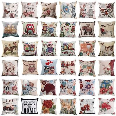 New Vintage Cotton Linen Pillow Case Sofa Waist Throw Cushion Cover Home Decor U