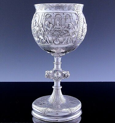 Superb Quality German Augsburg Solid Silver Figural Wine Chalice Goblet Cup