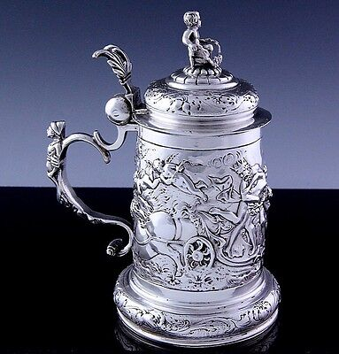 Extremely Rare Early German Solid Silver Figural Scenic Lidded Tankard Stein Cup