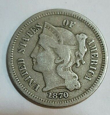 1870 Three 3 Cent Nickel Coin