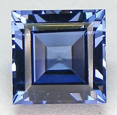 A PAIR OF 5mm SQUARE-FACET TOP CORNFLOWER-BLUE SAPPHIRE GEMSTONES