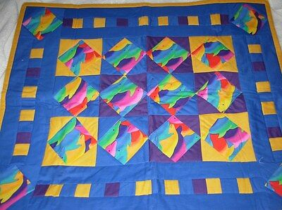 Dolphin Porpoise Quilted Wall Hanging, Table Topper, Bright Colors New 21 X 26