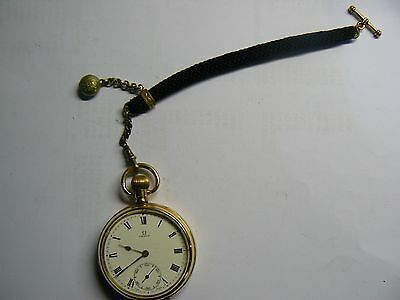 Nice antique Victorian 9k gold plated pocket watch chain strap with T- bar & fob