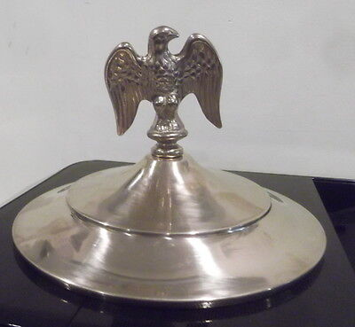 "Top cap lid brass and eagle for old 2 wheel coffee grinder  8 1/2"" i.d."