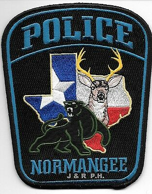 "Normangee, Texas  (4.5"" x 5.5"" size)  shoulder police patch (fire)"