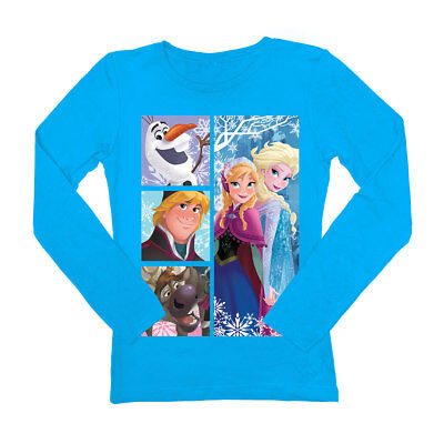 Disney Frozen Characters 4 Boxes Youth Turquoise Pullover Sweater
