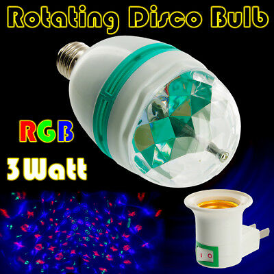 E27 3W Colorful Stage RGB LED Light Bulb Party Disco DJ Lamp With Wall Plug