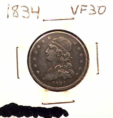 1834 Capped Bust Quarter VF+ Coin