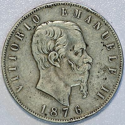 1876 R Italy 5 Lire Silver Crown Coin (LV#622)