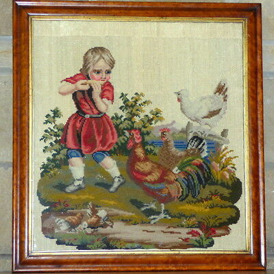 Victorian 19th Century Rare Woolwork of a Child with Chickens