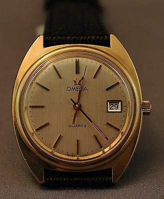 Omega Quartz Mens Watch with Date - Gold Plated - Vintage