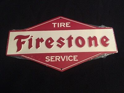 "FIRESTONE TIRE SERVICE Reproduction Sign 11"" X 7"" Embossed OPEN ROADS Sealed"