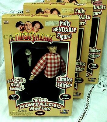 THE THREE STOOGES Nostalgic Series Dolls ~ Fully Bendable LARRY MOE CURLY Set/3